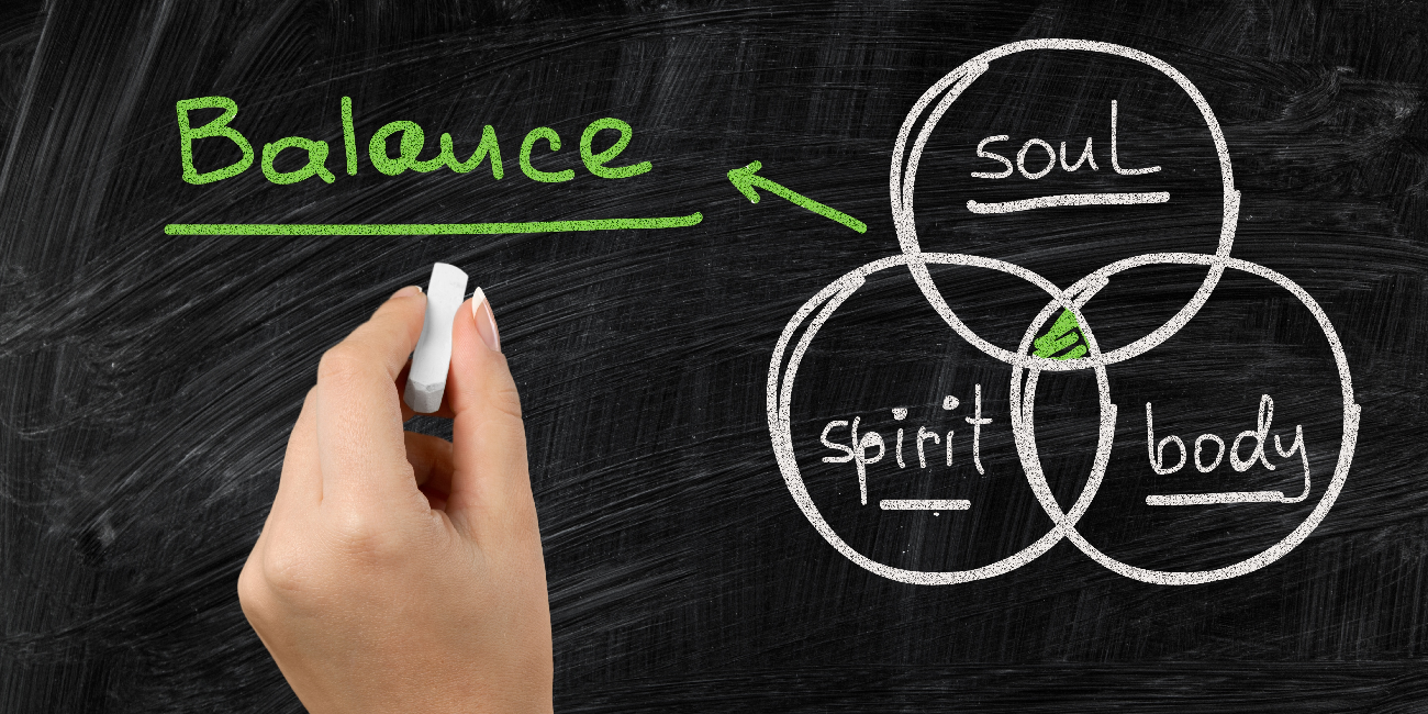 blackboard with a three circle ven-diagram titled spirit, soul & body